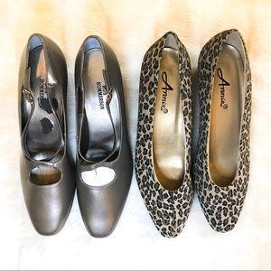 Vintage Heels 2 Pairs Size 7 Cheetah&Metallic